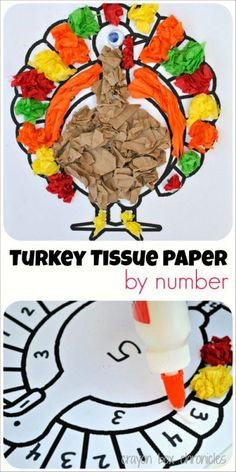 Turkey Tissue Paper by Number by Crayon Box Chronicles Gobble! With Thanksgiving right around the corner, it's a wonderful time to dig into our festive crafts. Today's turkey tissue paper by number craft is simple, fun, and educatio… Festive Crafts, Fall Crafts, Kid Crafts, Thanksgiving Crafts For Kids, Thanksgiving Turkey, Thanksgiving Crafts For Kindergarten, November Crafts, Classroom Crafts, Holiday Activities