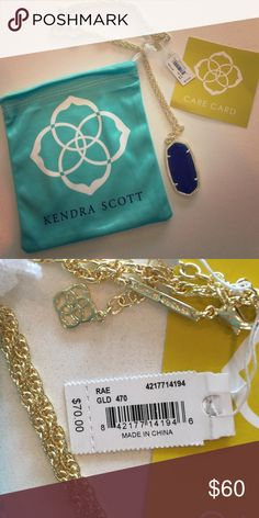 New w/ Tags Kendra Scott Rae in navy & gold Brand new, with tags, Kendra Scott Rae necklace in navy & gold.  Comes with dust bag, care card.  No trades.  Also selling on M. Kendra Scott Jewelry Necklaces