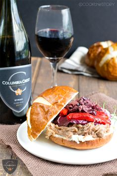 Pulled Pork Sandwich with Wine and Rosemary and Fancy Toppings