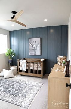2019 UV Parade of Homes Recap Part 2 2019 Painted shiplap accent wall painted with Sherwin Williams Slate Tile The post 2019 UV Parade of Homes Recap Part 2 2019 appeared first on Nursery Diy. Blue Accent Walls, Accent Walls In Living Room, Accent Wall Bedroom, Bedroom Decor, Tile Accent Wall, Bedroom Wall Paints, Painted Accent Walls, Wood Wall Nursery, Fireplace Accent Walls