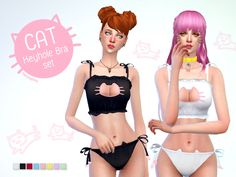 Best Daily Sims 4: manueaPinny - Cat keyhole bra set