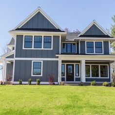 Officially ordered the exterior paint for the house today. That means that painting the siding is right around the corner. Here's the inspiration image - dark grey siding with white trim and black windows. (Photo via Hanson Homes on @houzz.) #newlywoodwardsbuildahouse