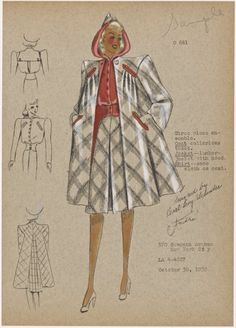 Three piece ensemble, 1939 - André Fashion Illustrations From NYPL's Picture Collection of images), New York Public Library Vintage Glamour, Vintage Girls, Vintage Sewing, Vintage Outfits, Dress Sketches, Fashion Sketches, Fashion Illustrations, 1940s Fashion, Vintage Fashion