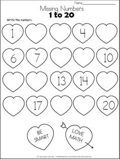 Valentine's Day Missing Numbers to 20