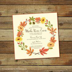 autumn wreath shower invitation, printable, bridal shower or baby shower