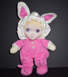 Vintage 1986 Playskool Jammie Pies Doll Pink Bunny Ears Feet Stuffed Animal Toy