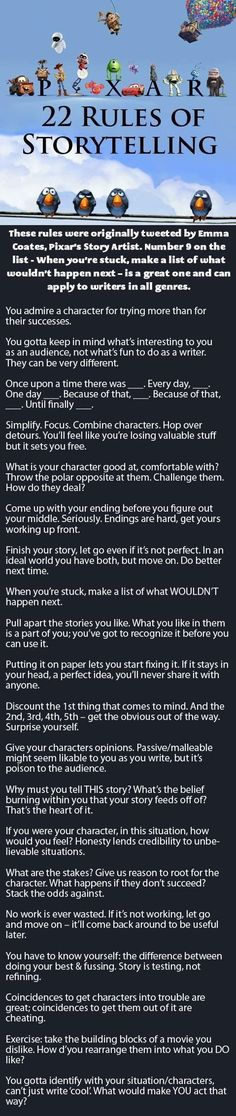 22 RUles Of Story Telling by Emma Coates (Pixar's story artist)