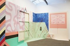 "An installation view of Sarah Cain's ""Burning Bush"" exhibition at Galerie Lelong"