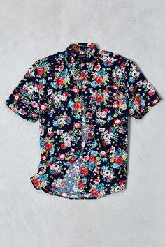 CPO Navy Rose Floral Print Short-Sleeve Button-Down Shirt