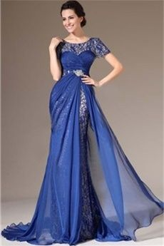 A-Line/Princess Jewel Court Train Chiffon Evening Dress