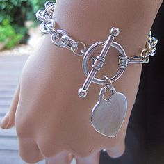 Silver Heart Bracelet Free Shipping Silver Oval Links and T Lock