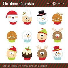 Christmas clipart Cupcakes set digital download por JazzyPatterns
