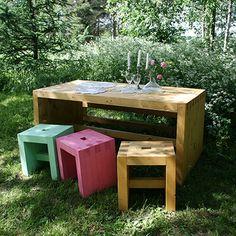 Luona-pihakalusteet tukevaa puuta puutarhaacn, myös penkki 129 € vaikka keittiöön - garden furniture