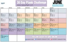 30 Day Plank Challenge (Beginner Level). Do front & side planks for the time specified daily. Let's get that strong core! #abs #core #plankchallenge #fitnesschallenge #abworkout #abexercise