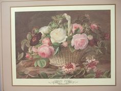 Vintage Pimpernel placemat Pink rose basket by ShoponSherman