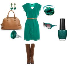 """Brown and Teal"" by iamtheashley on Polyvore"