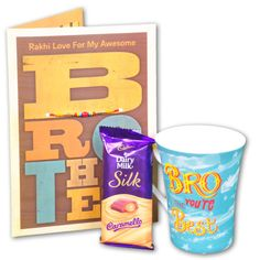 Cadbury With Mug Gift Hamper :     Bro You're the best.     Cadbury dairy milk silk Caramello 60 grms Chocolate. Shop Now : Rs. 499. http://hallmarkcards.co.in/collections/rakhi-gift-hampers/products/best_rakhi_gift_hamper_for_brother