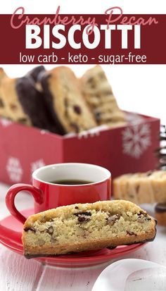 Keto Cranberry Pecan Biscotti Easy keto almond flour biscotti studded with cranberries and pecans. Dipped in sugar free dark chocolate too! So delicious and a fun low carb holiday treat. Give as gifts or keep it ALLLLL to yourself. Low Carb Sweets, Low Carb Desserts, Low Carb Recipes, Dessert Recipes, Dinner Recipes, Keto Cookies, Chip Cookies, Galletas Keto, Desert Recipes