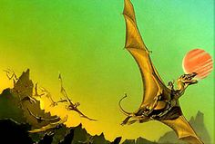 """People co-existing with Dragons-Cover of the book """"Dragonflight"""" by Anne McCaffrey"""