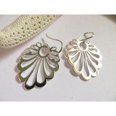 Sterling Silver Earrings Cut Out Earrings Silver Earrings Fancy... ($29)  liked on Polyvore featuring jewelry earrings sterling silver drop earrings fancy earrings fancy jewellery drop earrings and lace earrings