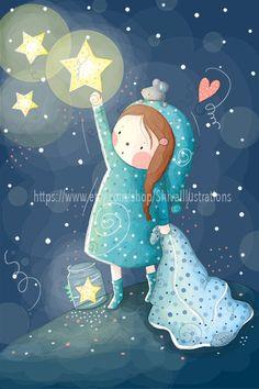 Bambini illustrazione - Nursery - buona notte ragazza di ShivaIllustrations su Etsy https://www.etsy.com/it/listing/152326174/bambini-illustrazione-nursery-buona