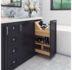Hardware Resources No Wiggle 8 Inch Vanity Cabinet Pullout with Soft-Close Under. - Hardware Resources No Wiggle 8 Inch Vanity Cabinet Pullout with Soft-Close Under… - Bad Inspiration, Bathroom Inspiration, Bathroom Styling, Bathroom Storage, Bathroom Organization, Bathroom Vanities, Bathroom Cleaning, Shower Bathroom, Small Bathroom Cabinets