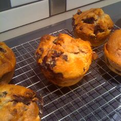 """My healthy """"To Die For Blueberry Muffins"""". Combine 1.5C Barley Flour, 1/2C sugar, 1/2t salt, 2t baking powder in a bowl. Within 1C, combine 1/3C unsw. apple sauce, 2 egg whites, and top up with low fat milk (~1/3C). Combine with dry ingredients. Add splash lemon and cinnamon. Add about 1.5C blueberries that have been tossed in flour (keeps"""