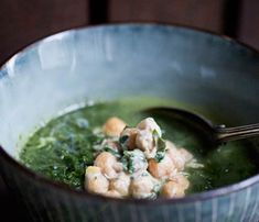 Hearty Soups With Superfoods: Spinach and Kale Soup With Tahini-Dressed Chickpeas. See the full recipe here! #SelfMagazine