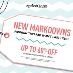 New Markdowns Taken!  BOGO 1/2 off. Markdowns are now Buy ONE Get ONE 50% off the lowest prices.  New markdowns taken daily! $ave Now! Tops starting at $10. Select Sweaters Dresses Bottoms Starting at $15. Select styles included in the BOGO 50% off. Now through Sat. 2.6.16  #apricotlaneaugusta #alb #BOGO50off #womensfashions #dresses by apricotlaneaugusta