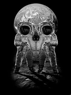 This photo represents Pierce's theory of symbols and Gestalts theory of visual perception. There are two images here, one of the astronauts in front of the moon and the other of a skull, which ever one you see first is up to the viewer. I saw the skull first and the way I interpret this photo is the artist might believe that human kinds natural curiosity might cause problems in the future or bring evil to our world. Also it might signify protection of human kind or life elsewhere.