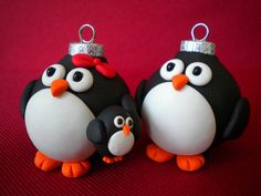 FROM SleepyDenas Etsy shop: Penguin Family Christmas Ornaments
