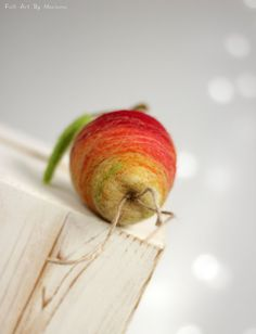 Needle Felt Apple  Cottage Decoration A Apple  by FeltArtByMariana