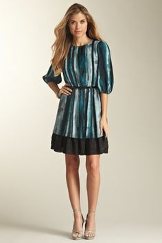 Belted 3/4 Length Sleeve Pleated Print Dress