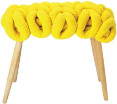 Yellow knit stool by Claire-Anne O'Brien Cotton Cord, Diy Stool, Funky Furniture, Lace Knitting, Creative Home, House Colors, Home Crafts, Retro Vintage, Stools