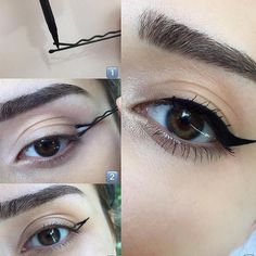 No effing way! LOOK at this trick for a winged eyeliner Cham.- No effing way! LOOK at this trick for a winged eyeliner No effing way! LOOK at this trick for a winged eyeliner – – - Eyeliner Hacks, Cat Eyeliner, How To Apply Eyeliner, Applying Eyeliner, Perfect Winged Eyeliner, Eyeliner Pencil, Eyeliner Brands, Eyeliner Styles, Makeup Ideas