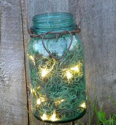 Mason jar + moss + lights