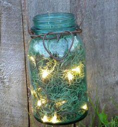 Mason jar + moss + lights