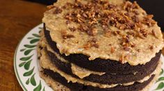 Chocolate Bacon Cake Recipe - great idea to mix frosting with caramel!