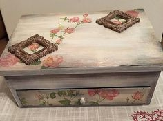 Wood Jewelry Box. Large Decoupage Jewelry Box. by GritlyArtDecor