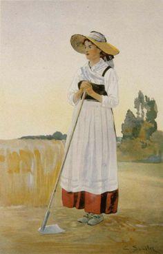 Spindler Jeune fille de Geispolsheim en costume de travail Alsace, Strasbourg, Historical Clothing, Lorraine, Folklore, Adoption, Shabby Chic, Paintings, Costumes