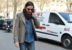 denim with tweed-