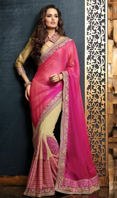 Lovely Buttercream and Pink Color #Saree Shop online @ http://www.indiandesignershop.com/product/lovely-buttercream-and-pink-color-saree/
