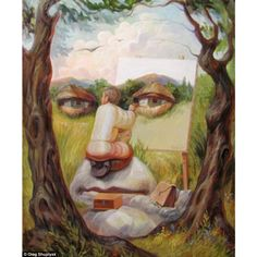 Ukrainian artist Oleg Shuplyak. creates stunning optical illusions in his paintings. Here is a self-portrait