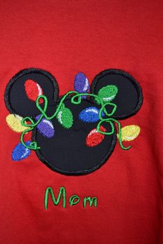 Custom Made to order Personalized Mickey Mouse Silhouette Christmas LightsShirt available in sizes 6 month to Adult XL. $20.00, via Etsy.