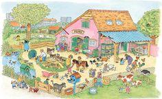 Praatplaat Bas - Kinderboerderij (Getekend door Dagmar Stam) Toddler Preschool, Preschool Activities, Math Talk, Picture Writing Prompts, Hidden Pictures, Farm Theme, Language Development, School Themes, Happy Colors