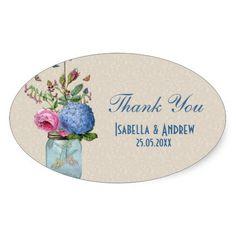 Mason Jar - Goldfish Love - Thank You Stickers