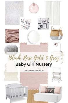 Blush, Rose Gold and Grey Nursery: Inspiration and Moodboard A soft and elegant pink and grey baby girl nursery moodboard.A soft and elegant pink and grey baby girl nursery moodboard. Blush Nursery, Pink And Gray Nursery, Nursery Room, Baby Room, Blush Pink And Grey Bedroom, Girl Nursery Colors, Girl Nursery Rugs, Baby Nursery Ideas For Girl, Gold Baby Nursery