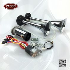 12V Twin TONE Loud Dual Trumpet Chrome Air Horn Compressor Set Car Boat Truck Van Motorcycle135DB