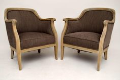 """pair-of-antique-swedish-bleached-oak-upholstered-armchairs Pair of antique Swedish upholstered armchairs with bleached oak frames in good condition. They have just been polished & re-upholstered. They have generous proportions & are very comfortable, due to the shape of the backs. I would date them to around the 1890-1910 period. Width - 25.6"""", 65 cm Depth - 26.4"""", 67 cm Height - 34.3"""", 82 cm Seat height - 16.2"""", 41 cm"""