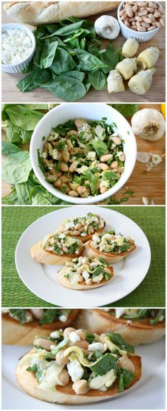 Spinach Artichoke White Bean Crostini Recipe on twopeasandtheirpod.com This easy and healthy crostini recipe is perfect for all of your holiday parties!